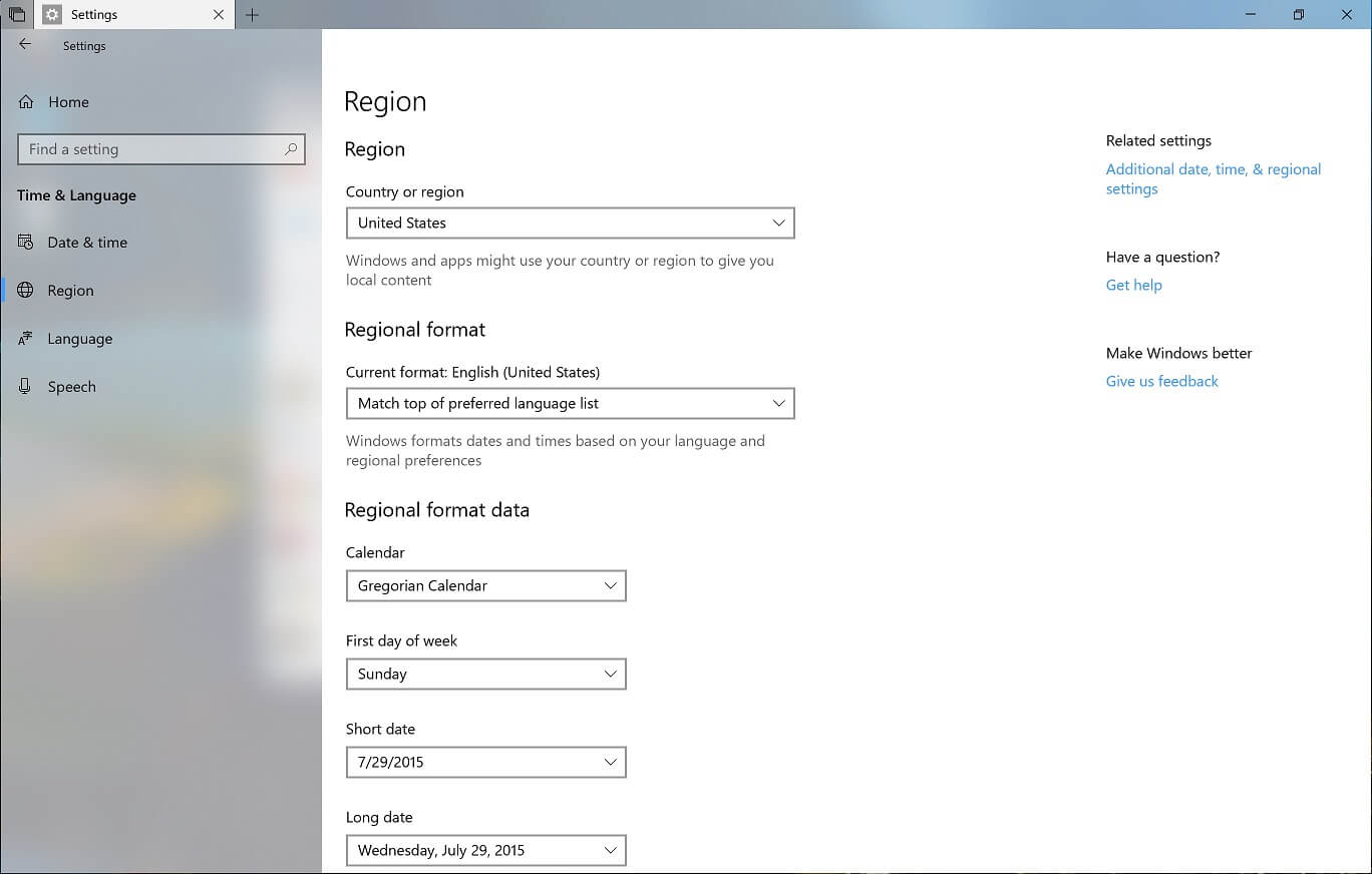 Windows 10 Region Settings
