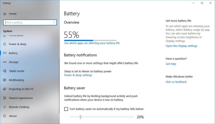 Windows 10 battery settings