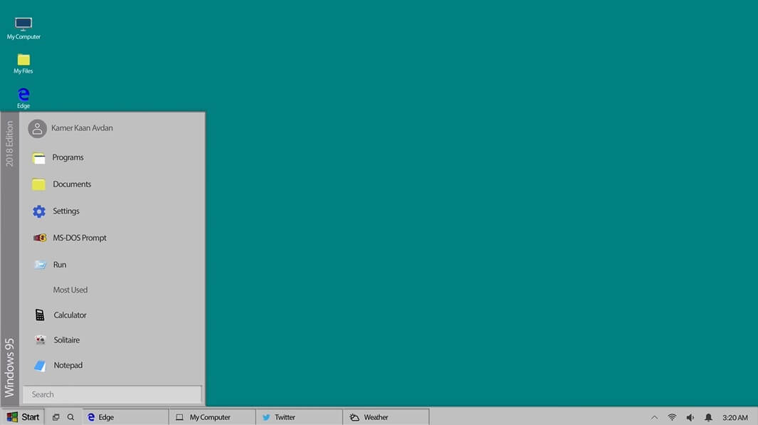 Windows 95 concept of start menu