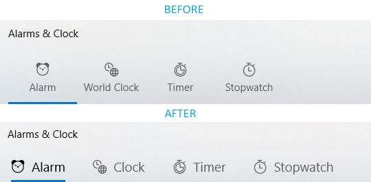 Alarms and Clocks UI changes