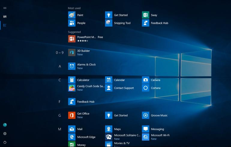 All apps menu in Windows 10 Start screen