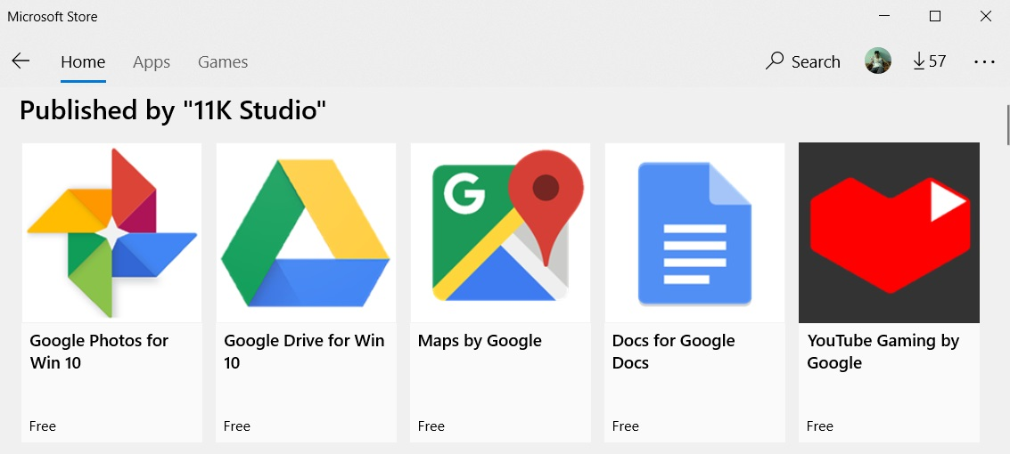 Google apps in Store
