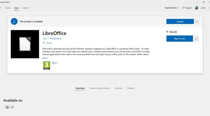 LibreOffice in Microsoft Store