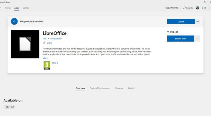 LibreOffice in Microsoft Store