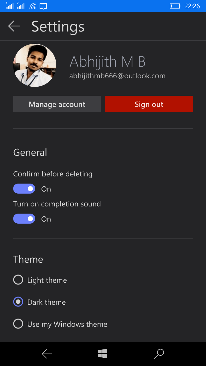 Microsoft To-Do settings
