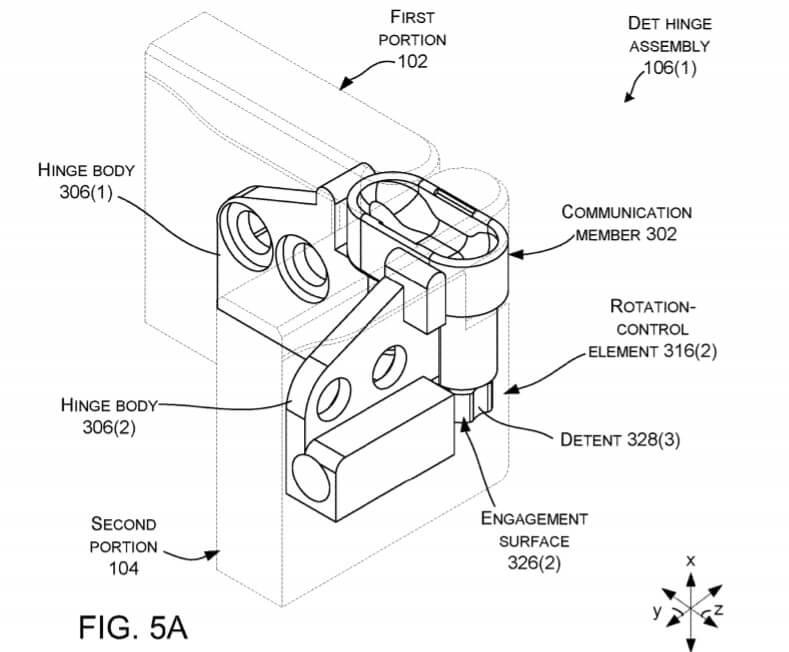 Microsoft foldable device hinge patent