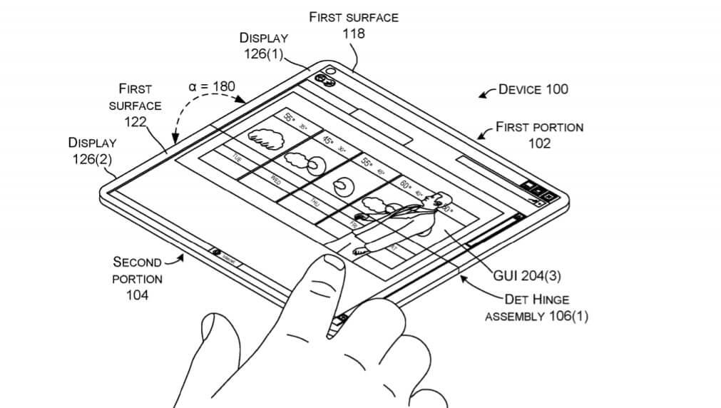 Microsoft foldable device patent