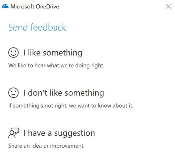 OneDrive Feedback option