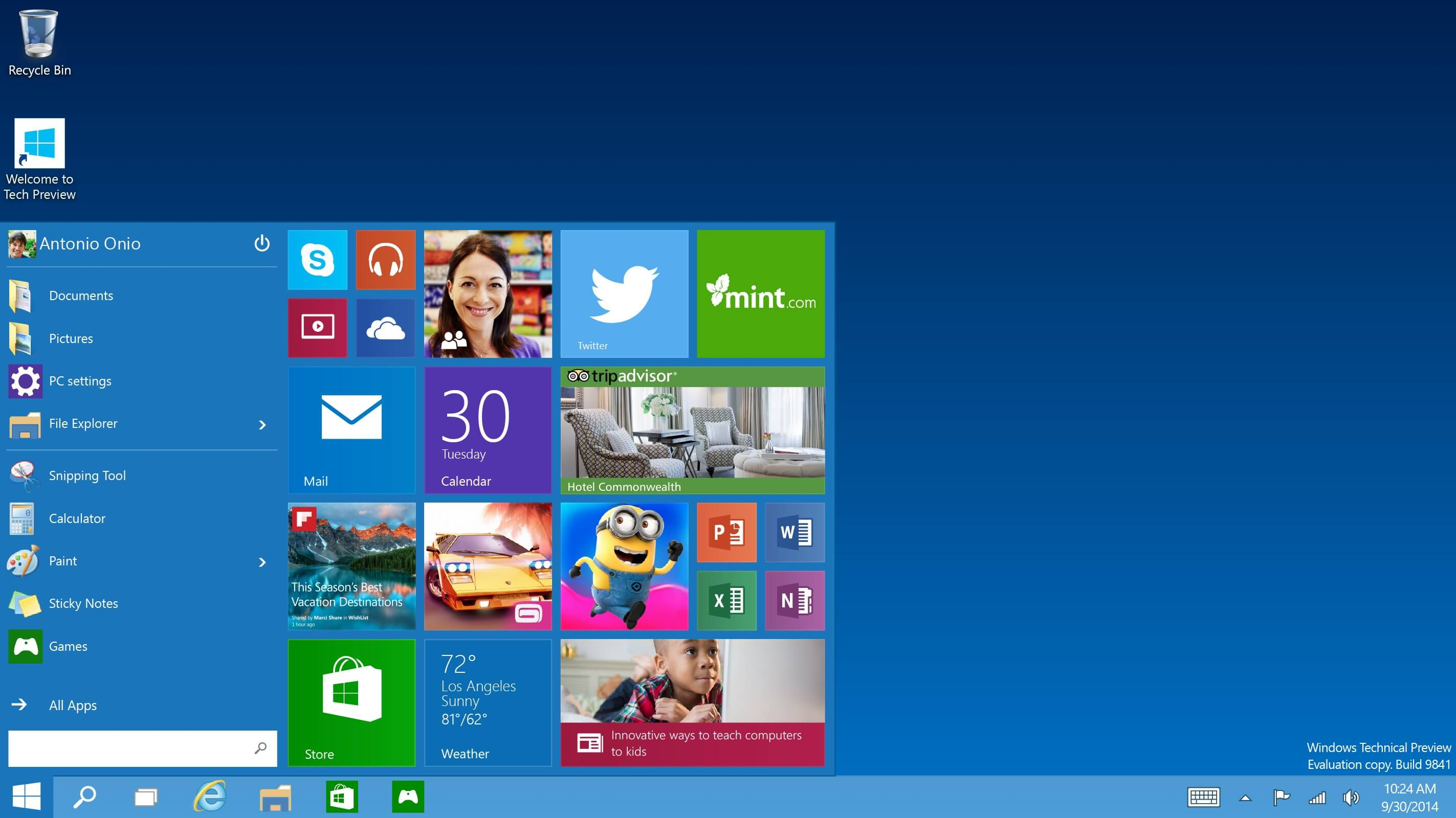 Start Menu in Windows 10