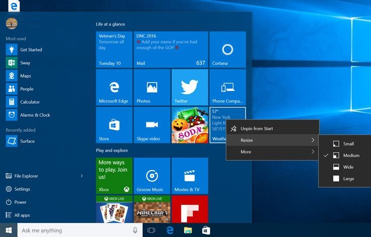 Start menu in November Update
