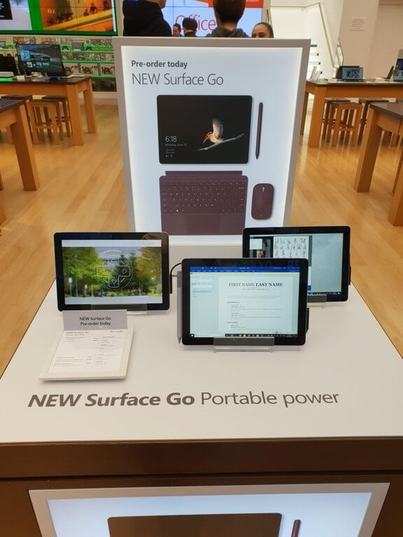 Surface Go in Microsoft Stores