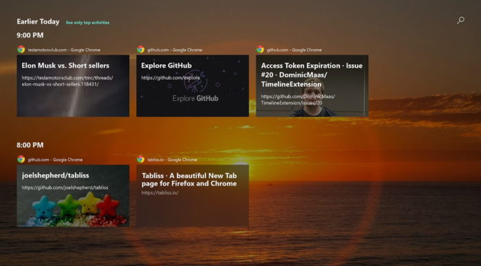 Windows 10 Timeline and Chrome