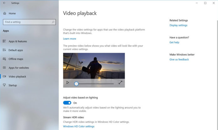 Windows 10 Video Playback settings