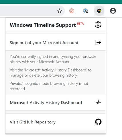 Windows Timeline Support extension