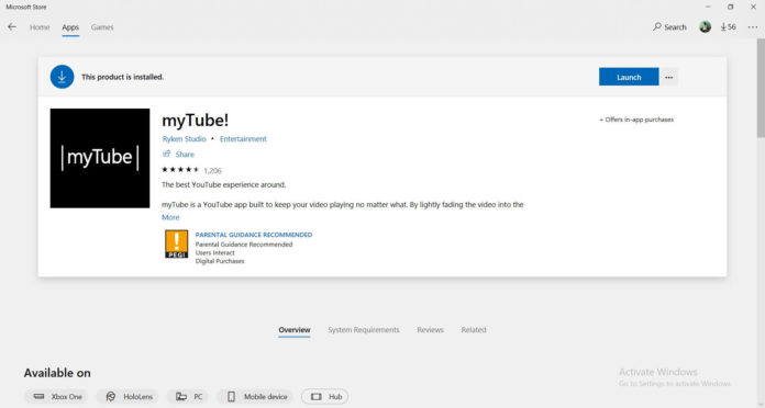 myTube on Windows 10