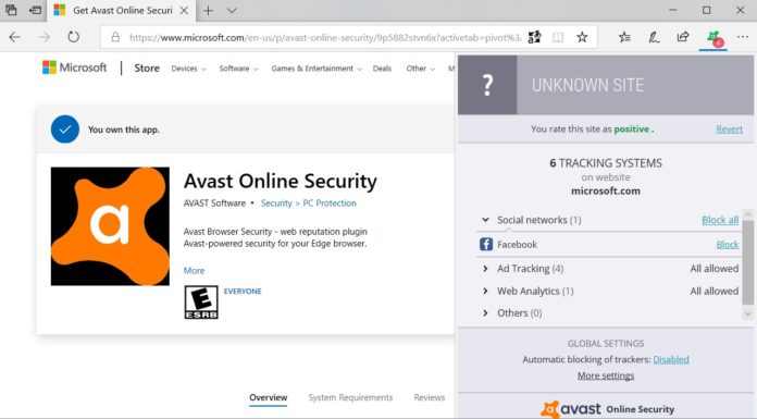 Avast Microsoft Edge extension