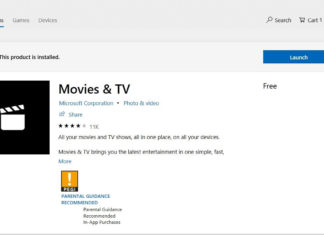 Movies and TV app