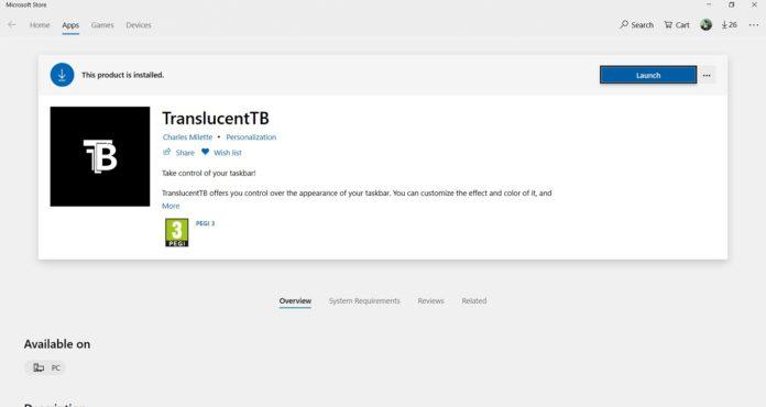 TranslucentTB for Microsoft Store