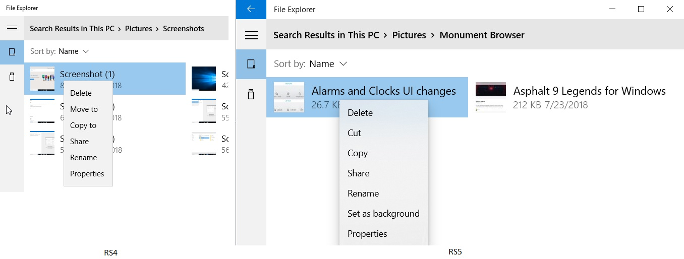 UWP File Explorer context menu
