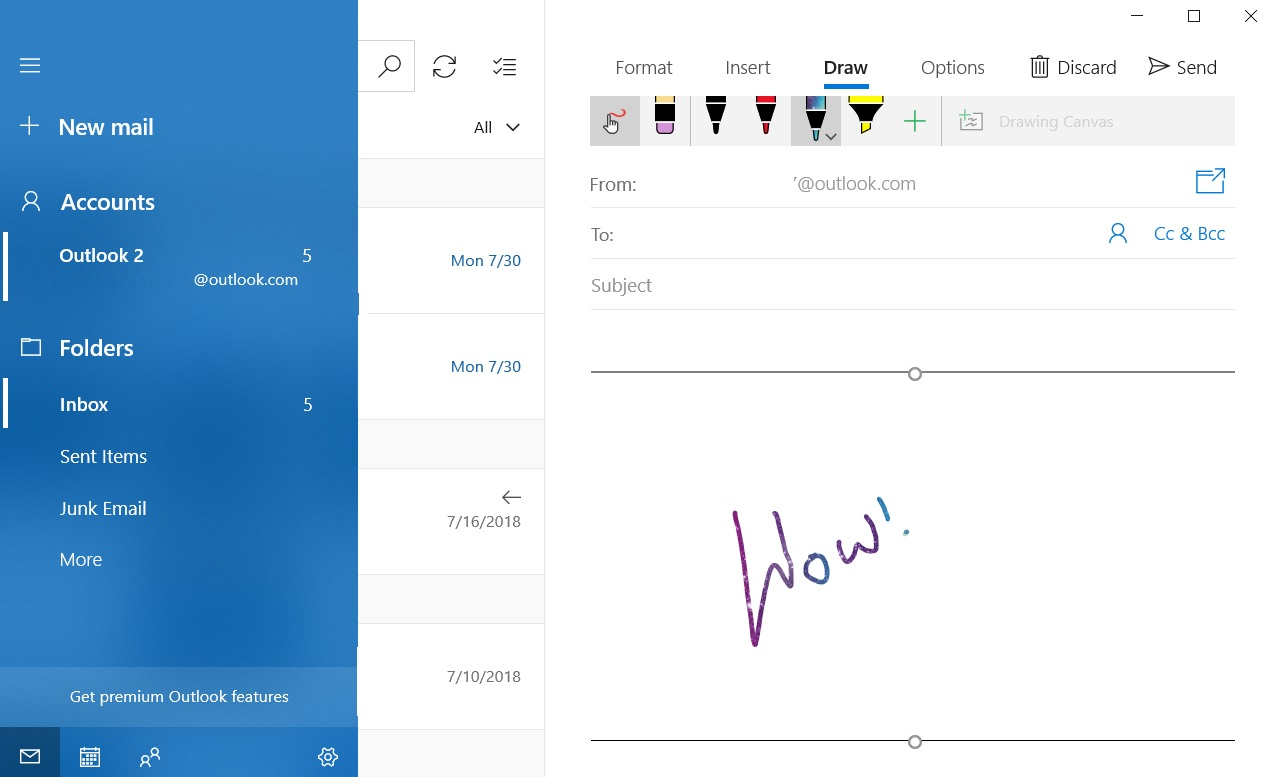 Windows 10 Mail Inking Feature