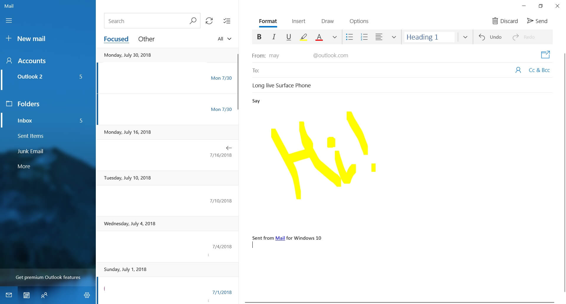 Windows 10 Mail app with drawing feature is now widely