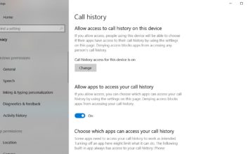 Call privacy feature in Windows 10