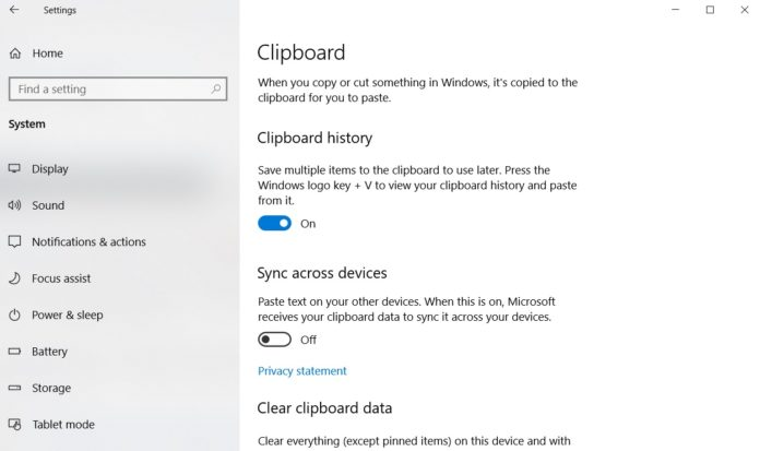 Clipboard in Windows 10