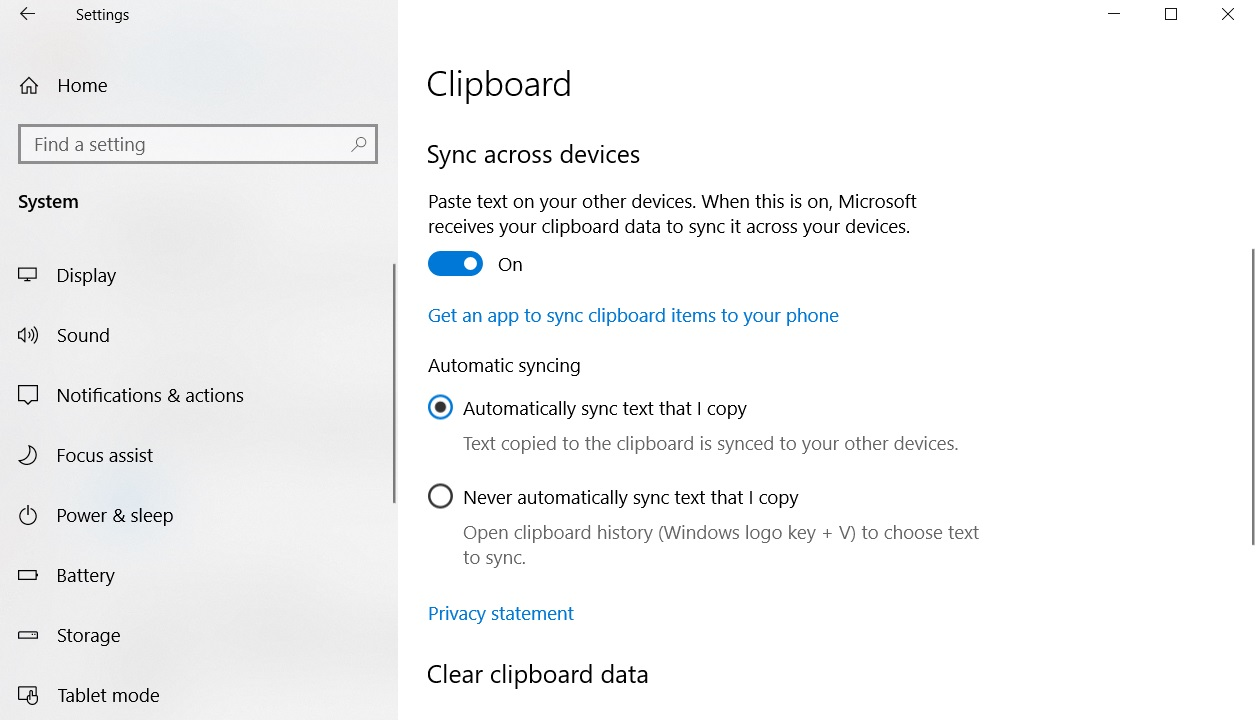 Clipboard sync settings