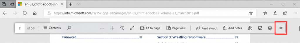 Edge PDF reader