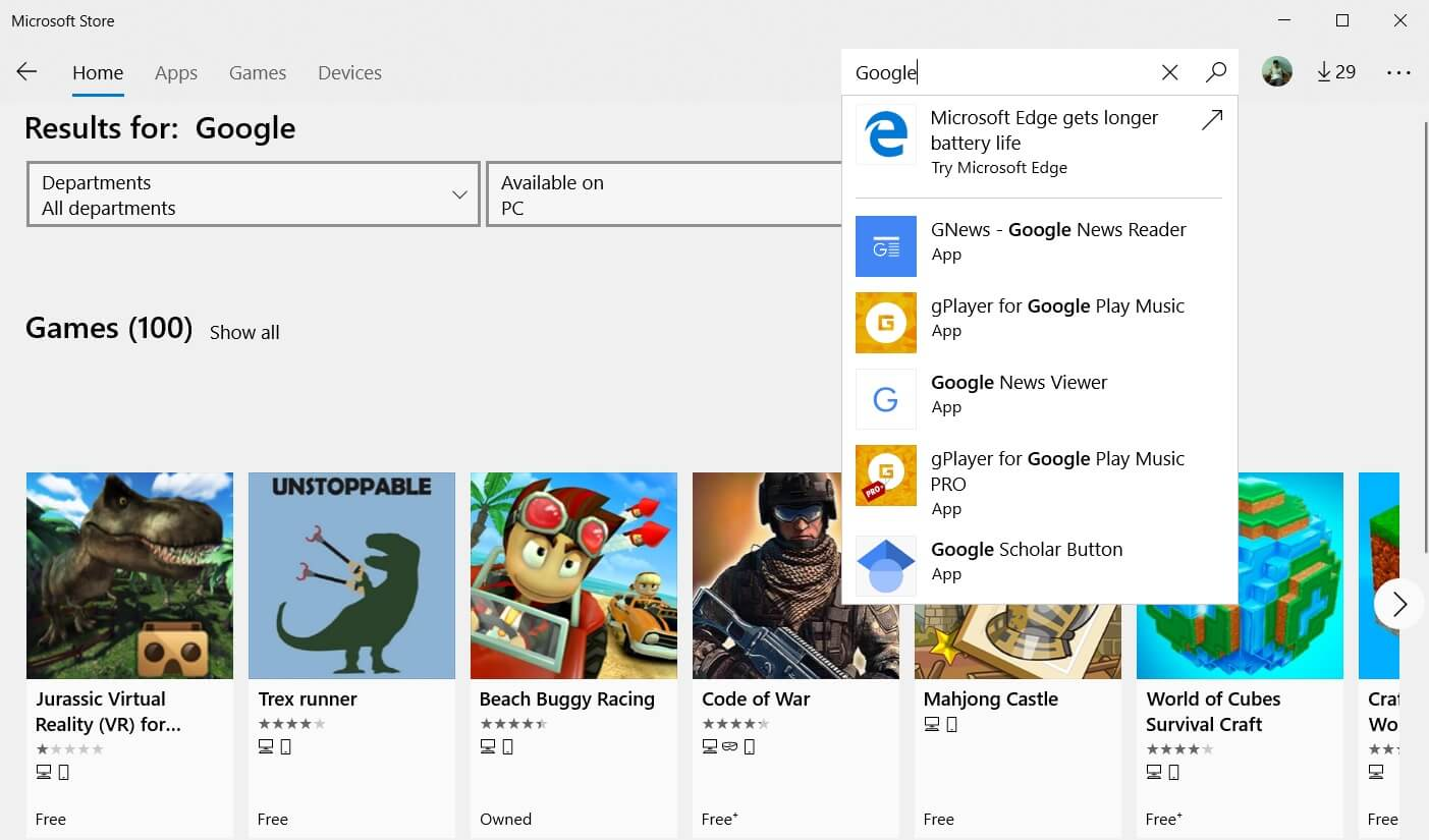 Google search app for Windows 10