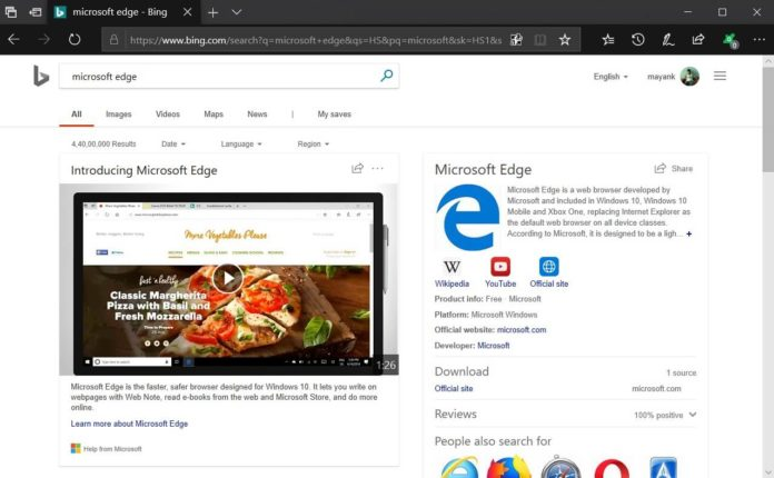 Microsoft Edge on Windows 10