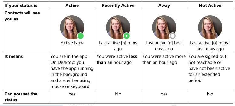 Skype status feature
