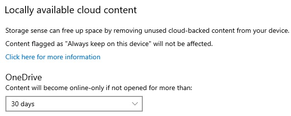 Storage Sense and OneDrive