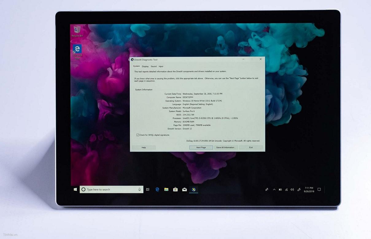 Surface Pro 6 specs