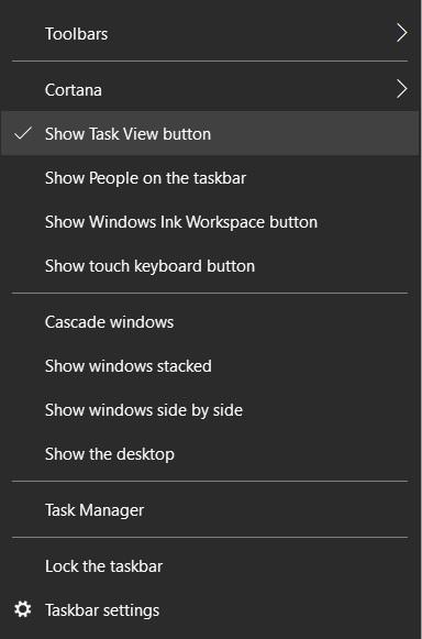 Task View Taskbar