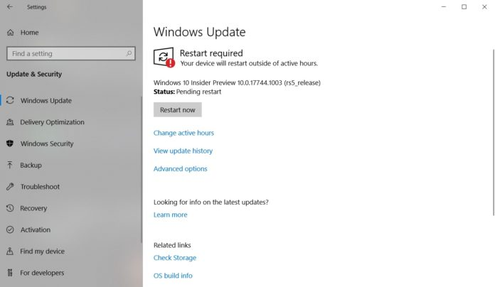 Windows 10 October Update installation