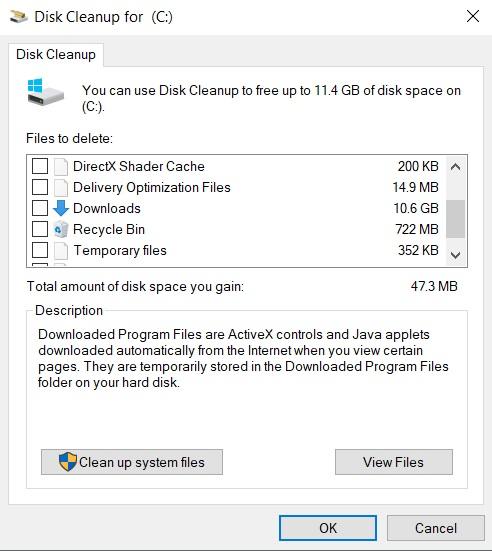 Disk Cleanup downloads