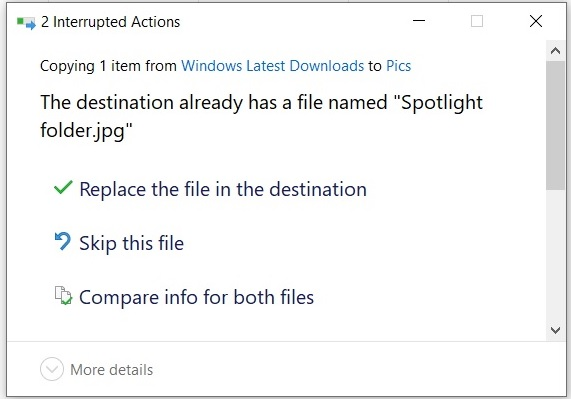File confirmation box