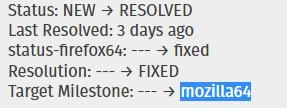 Firefox 64 milestone