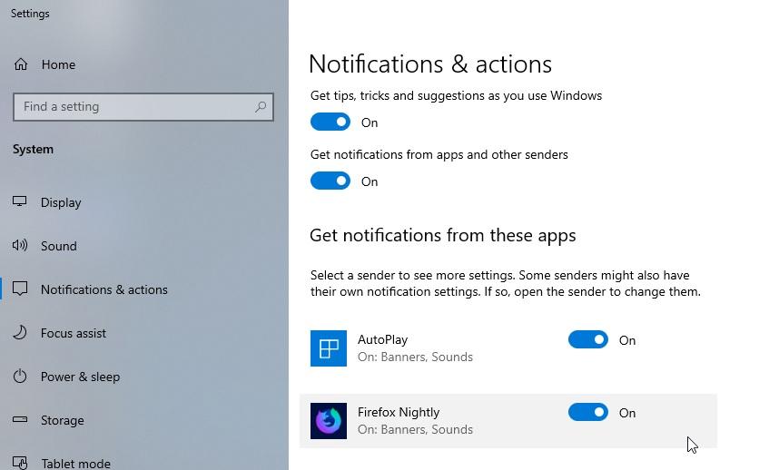 Firefox Nightly in Windows 10