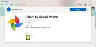 Google Photos app listing