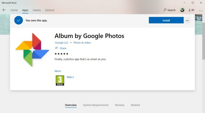 Google Photos app listing