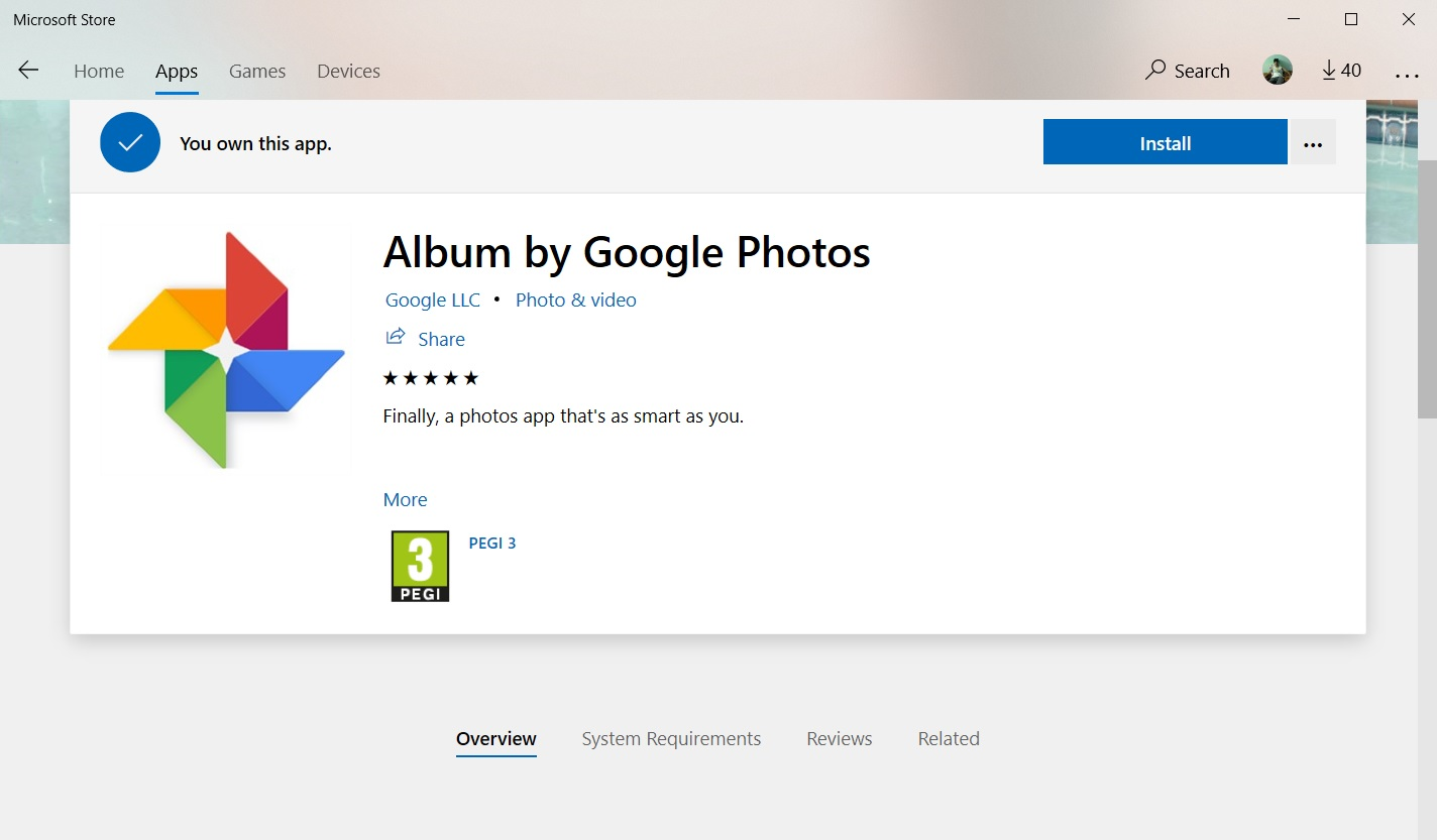 Microsoft Store has a third-party Google Photos app that