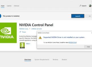 NVIDIA Control Panel app error
