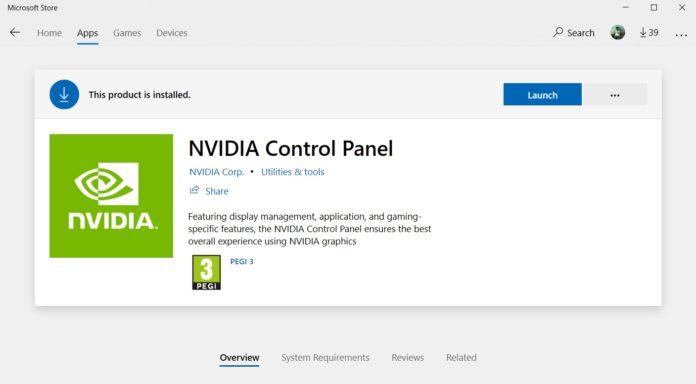 NVIDIA Control Panel app for Windows 10