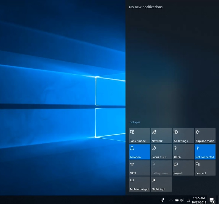 Windows 10 Action Center bug