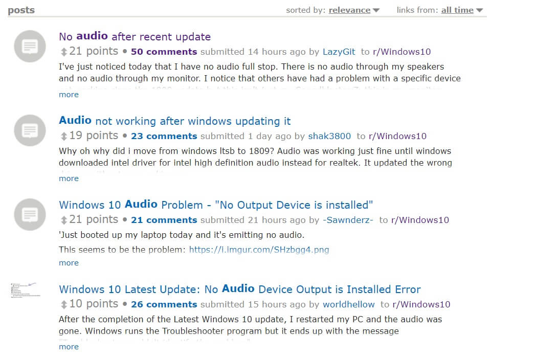 Audio drivers broken after latest Windows 10 update for some