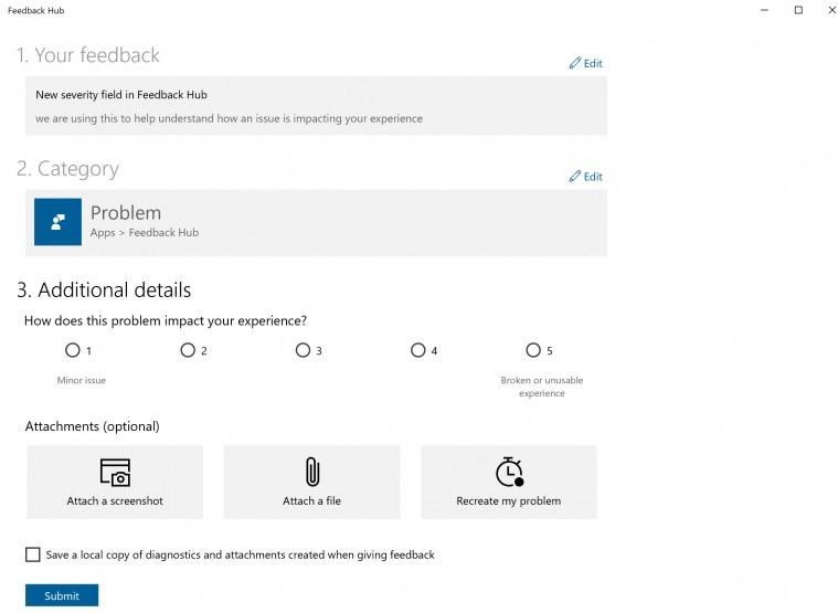 Windows 10 Feedback Hub