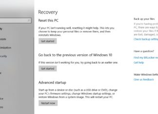 Windows 10 October 2018 Update recovery
