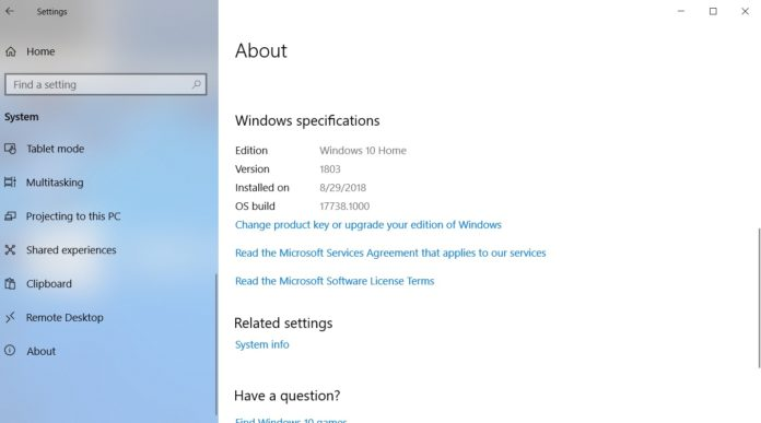 Windows 10 October 2018 Update system requirements